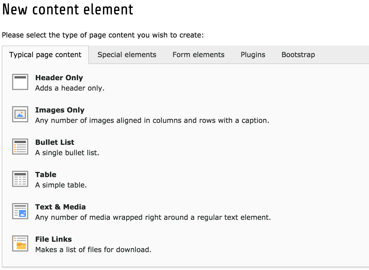 TYPO3's content element selector