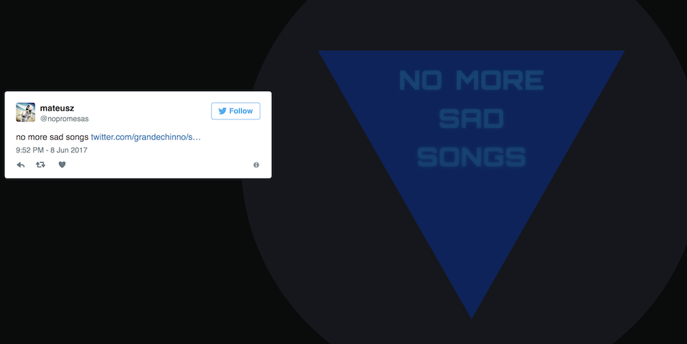 An answer from Twitter 8-Ball: No more sad songs